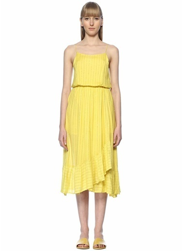 Sundress İnce Askılı Midi Elbise Sarı